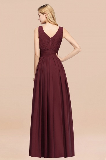 BMbridal Modest Dark Green Long Bridesmaid Dress Deep V-Neck Chiffon Maid of Honor Dress_52
