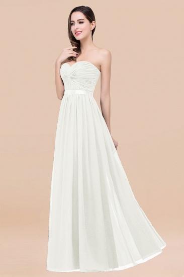 BMbridal Affordable Sweetheart Ruffle Navy Chiffon Bridesmaid Dress With Ribbon_2