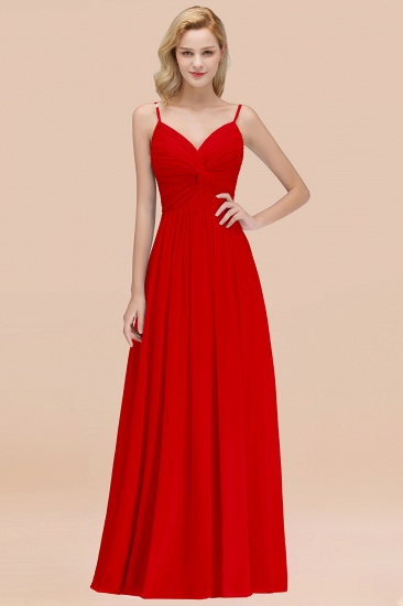 BMbridal Chic V-Neck Pleated Backless Bridesmaid Dresses with Spaghetti Straps_8