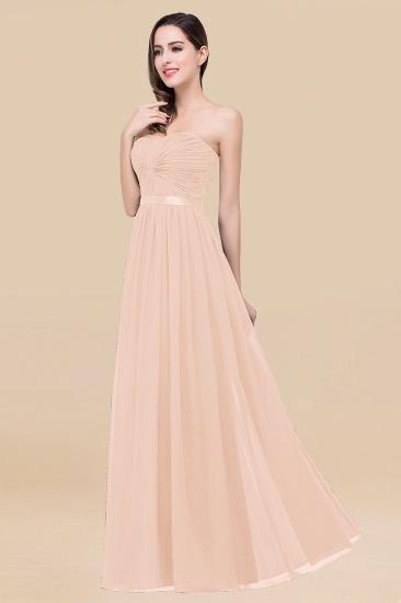 BMbridal Affordable Sweetheart Ruffle Navy Chiffon Bridesmaid Dress With Ribbon_5