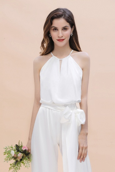 BMbridal Affordable Halter Sleeveless Ivory Charmeuse Bridesmaid Jumpsuit Online_9