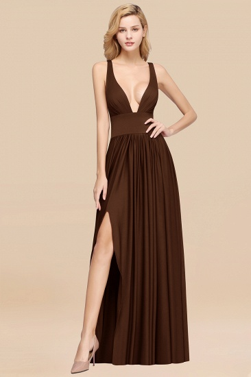 BMbridal Sexy Deep V-Neck Sleeveless Bridesmaid Dress Burgundy Chiffon Wedding Party Dress_10