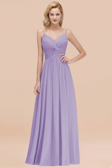 BMbridal Chic V-Neck Pleated Backless Bridesmaid Dresses with Spaghetti Straps_21