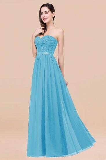 BMbridal Affordable Sweetheart Ruffle Navy Chiffon Bridesmaid Dress With Ribbon_24