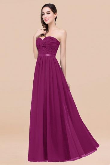 BMbridal Affordable Sweetheart Ruffle Navy Chiffon Bridesmaid Dress With Ribbon_42