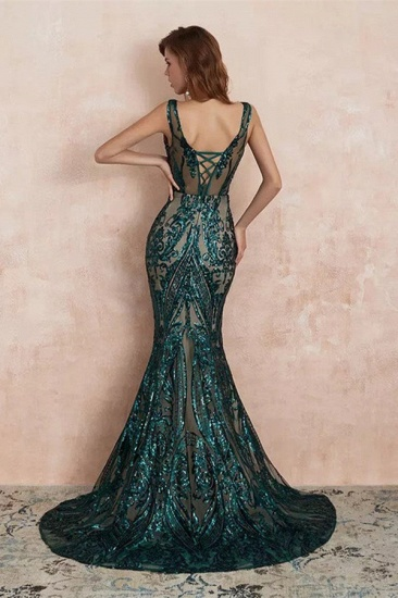 BMbridal Glamorous Green Sequins Mermaid Evening Gowns Long V-Neck Prom Dress On Sale_2