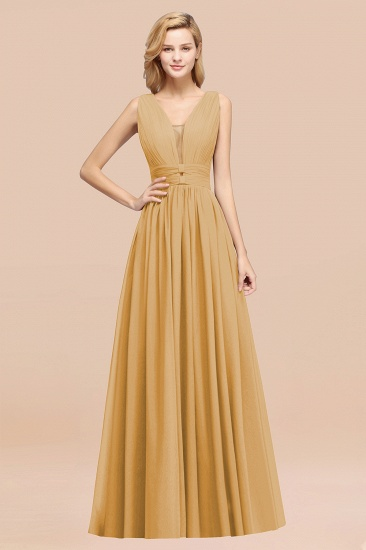 BMbridal Modest Dark Green Long Bridesmaid Dress Deep V-Neck Chiffon Maid of Honor Dress_13