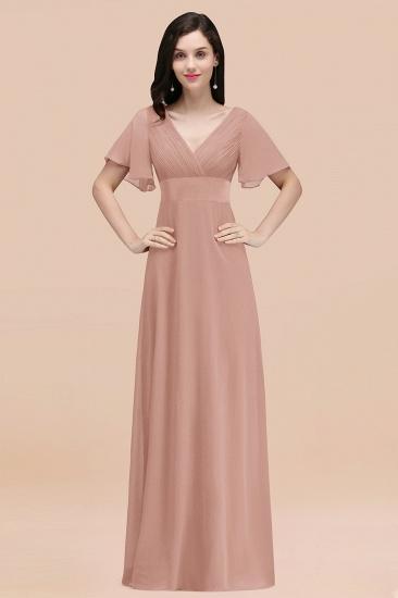 BMbridal Affordable V-Neck Ruffle Long Burgundy Bridesmaid Dress With Short-Sleeves_6