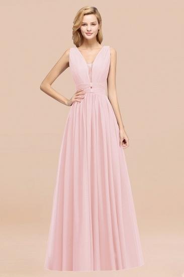 BMbridal Modest Dark Green Long Bridesmaid Dress Deep V-Neck Chiffon Maid of Honor Dress_3