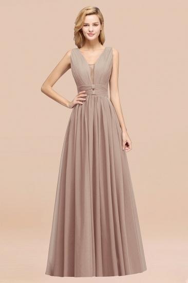 BMbridal Modest Dark Green Long Bridesmaid Dress Deep V-Neck Chiffon Maid of Honor Dress_16