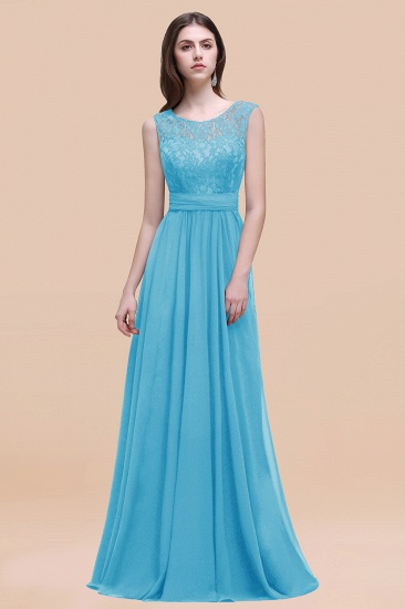 BMbridal Vintage Lace Scoop Sleeveless Dark Blue Bridesmaid Dress with V-Back_24