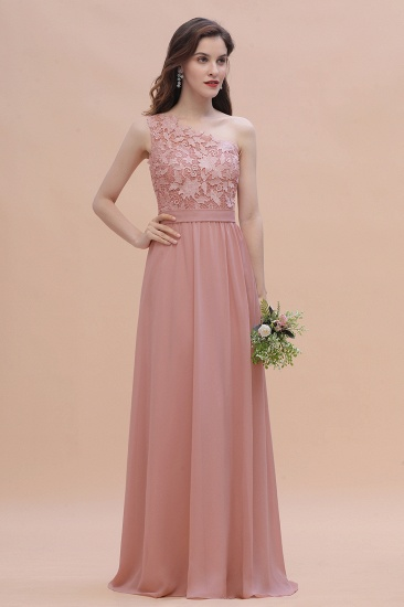 BMbridal Chic One Shoulder Chiffon Lace Vintage Mauve Bridesmaid Dress On Sale_6