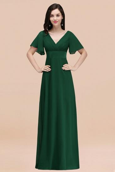 BMbridal Affordable V-Neck Ruffle Long Burgundy Bridesmaid Dress With Short-Sleeves_31