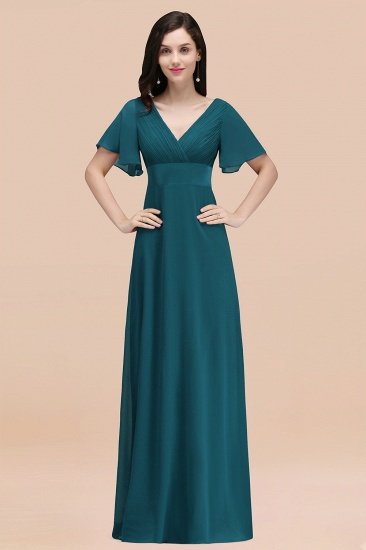BMbridal Affordable V-Neck Ruffle Long Burgundy Bridesmaid Dress With Short-Sleeves_27