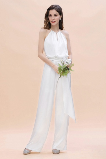 BMbridal Affordable Halter Sleeveless Ivory Charmeuse Bridesmaid Jumpsuit Online_5