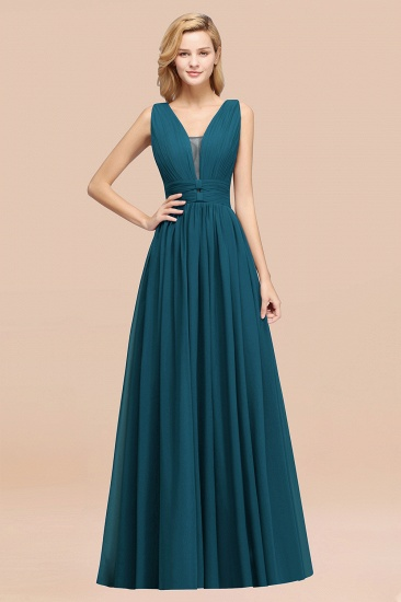 BMbridal Modest Dark Green Long Bridesmaid Dress Deep V-Neck Chiffon Maid of Honor Dress_27