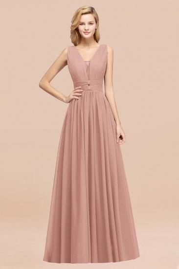 BMbridal Modest Dark Green Long Bridesmaid Dress Deep V-Neck Chiffon Maid of Honor Dress_6