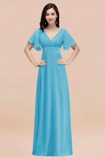 BMbridal Affordable V-Neck Ruffle Long Burgundy Bridesmaid Dress With Short-Sleeves_24