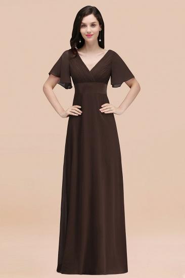 BMbridal Affordable V-Neck Ruffle Long Burgundy Bridesmaid Dress With Short-Sleeves_11
