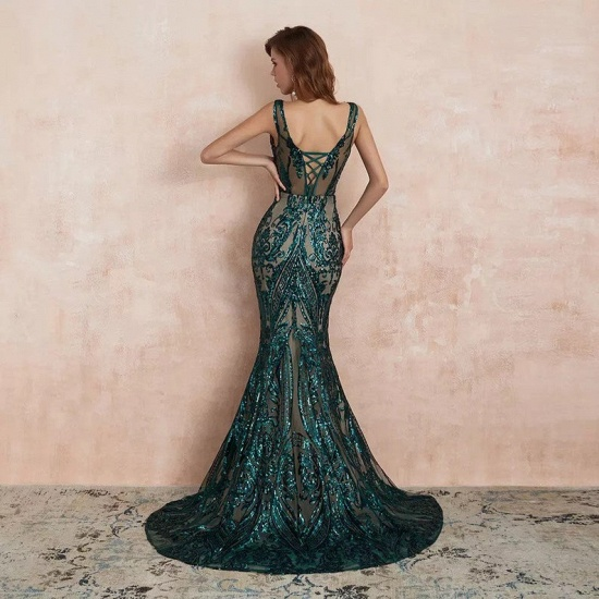 BMbridal Glamorous Green Sequins Mermaid Evening Gowns Long V-Neck Prom Dress On Sale_4
