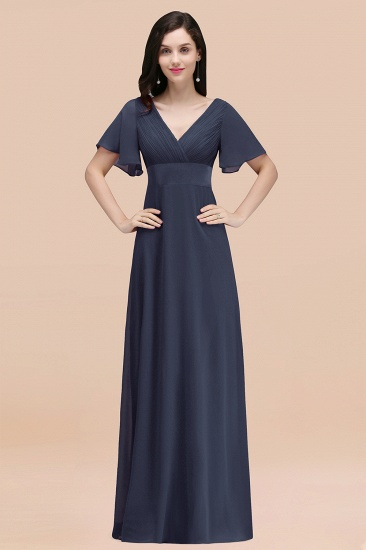 BMbridal Affordable V-Neck Ruffle Long Burgundy Bridesmaid Dress With Short-Sleeves_39