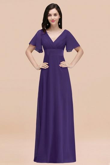 BMbridal Affordable V-Neck Ruffle Long Burgundy Bridesmaid Dress With Short-Sleeves_19