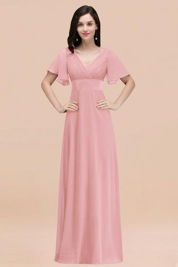 BMbridal Affordable V-Neck Ruffle Long Burgundy Bridesmaid Dress With Short-Sleeves_4