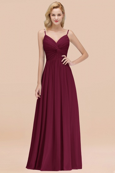 BMbridal Chic V-Neck Pleated Backless Bridesmaid Dresses with Spaghetti Straps_44