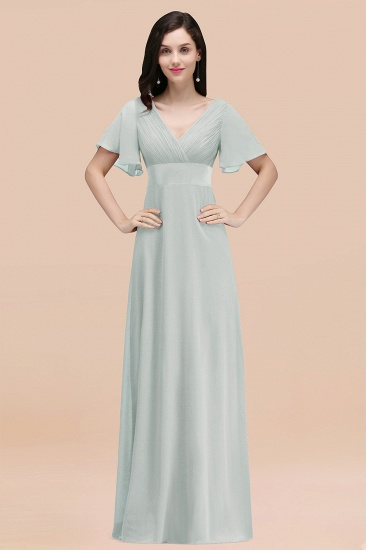 BMbridal Affordable V-Neck Ruffle Long Burgundy Bridesmaid Dress With Short-Sleeves_38