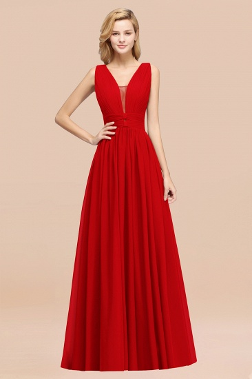 BMbridal Modest Dark Green Long Bridesmaid Dress Deep V-Neck Chiffon Maid of Honor Dress_8