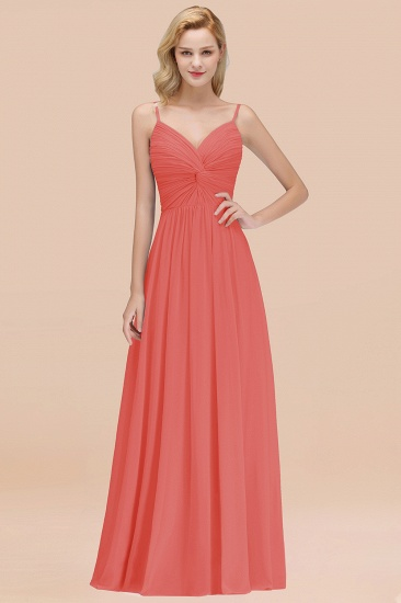 BMbridal Chic V-Neck Pleated Backless Bridesmaid Dresses with Spaghetti Straps_7