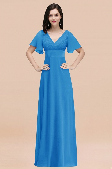BMbridal Affordable V-Neck Ruffle Long Burgundy Bridesmaid Dress With Short-Sleeves_25