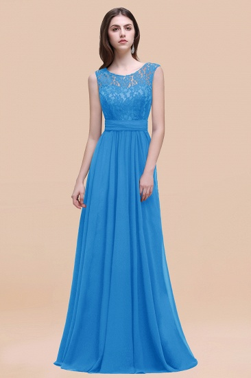 BMbridal Vintage Lace Scoop Sleeveless Dark Blue Bridesmaid Dress with V-Back_25