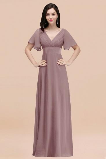 BMbridal Affordable V-Neck Ruffle Long Burgundy Bridesmaid Dress With Short-Sleeves_37