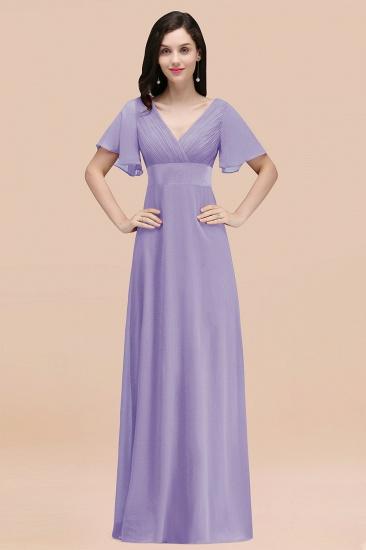 BMbridal Affordable V-Neck Ruffle Long Burgundy Bridesmaid Dress With Short-Sleeves_21