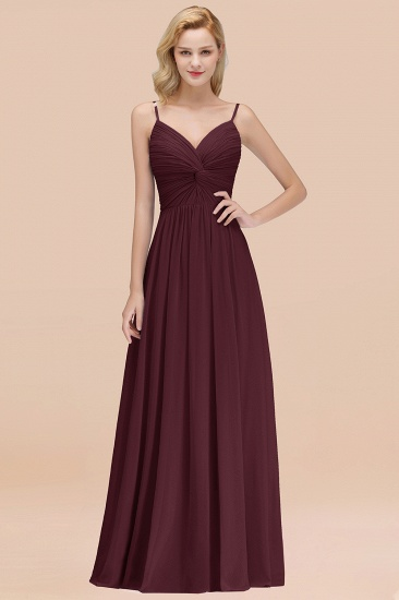 BMbridal Chic V-Neck Pleated Backless Bridesmaid Dresses with Spaghetti Straps_47
