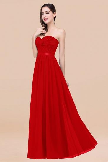 BMbridal Affordable Sweetheart Ruffle Navy Chiffon Bridesmaid Dress With Ribbon_8