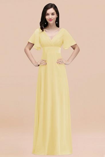 BMbridal Affordable V-Neck Ruffle Long Burgundy Bridesmaid Dress With Short-Sleeves_18