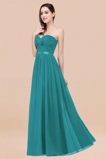 BMbridal Affordable Sweetheart Ruffle Navy Chiffon Bridesmaid Dress With Ribbon_32