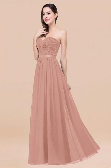 BMbridal Affordable Sweetheart Ruffle Navy Chiffon Bridesmaid Dress With Ribbon_6