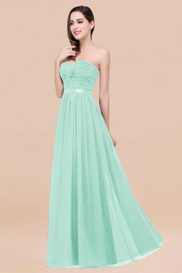 BMbridal Affordable Sweetheart Ruffle Navy Chiffon Bridesmaid Dress With Ribbon_36