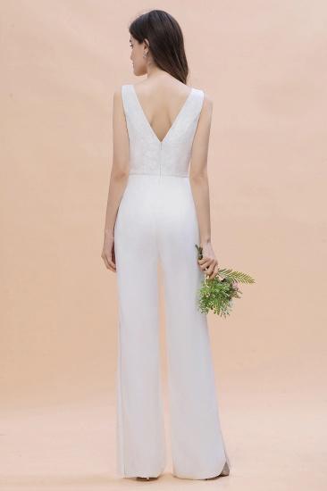 BMbridal Stylish V-neck Sleeveless White Lace Bridesmaid Jumpsuit Online_3