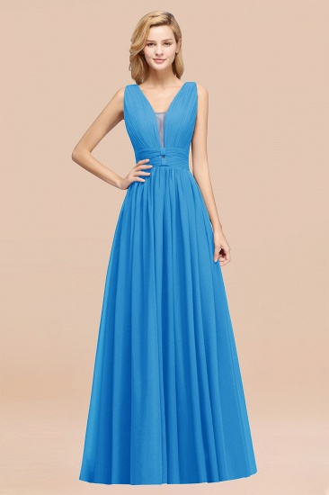 BMbridal Modest Dark Green Long Bridesmaid Dress Deep V-Neck Chiffon Maid of Honor Dress_25
