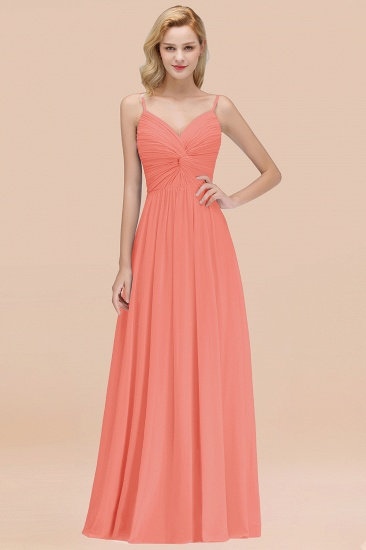 BMbridal Chic V-Neck Pleated Backless Bridesmaid Dresses with Spaghetti Straps_45