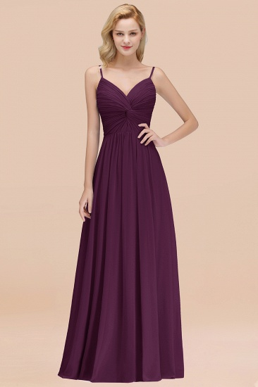 BMbridal Chic V-Neck Pleated Backless Bridesmaid Dresses with Spaghetti Straps_20