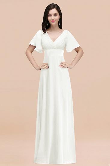 BMbridal Affordable V-Neck Ruffle Long Burgundy Bridesmaid Dress With Short-Sleeves_2