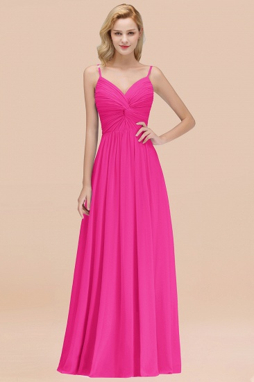 BMbridal Chic V-Neck Pleated Backless Bridesmaid Dresses with Spaghetti Straps_9