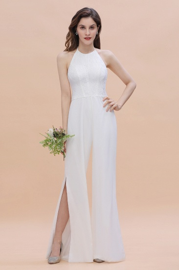 BMbridal Sexy Halter Backless Lace Bridesmaid Jumpsuit with Slits On Sale_7