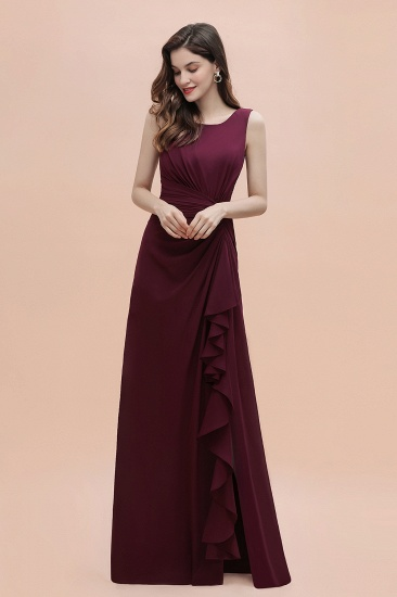 BMbridal Chic Jewel Cabernet Chiffon Ruffles Bridesmaid Dress with Slit On Sale_6