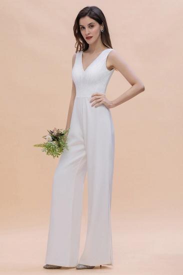 BMbridal Stylish V-neck Sleeveless White Lace Bridesmaid Jumpsuit Online_8